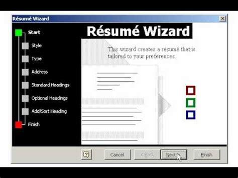 creating  resume   wizard  microsoft word youtube