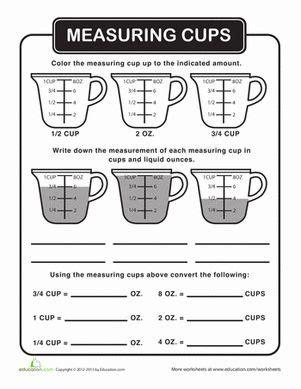 Kitchen Math Measurements by Liquid Measurement Efl Measurement Worksheets Math
