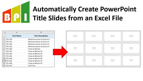auto create powerpoint title   excel template