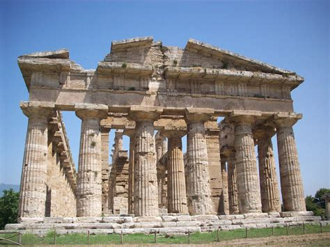 Ancient Buildings In Paestum, Italy