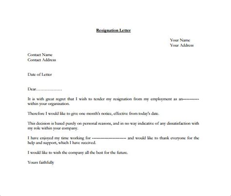 Formal Format Of Resignation Letter by Formal Resignation Letter Template 10 Free Word Excel