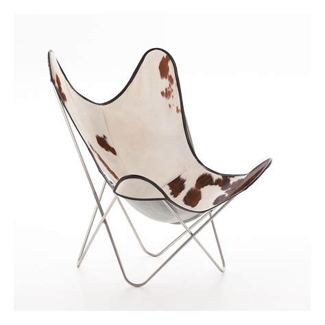 fauteuil indoor aa butterfly cuir peau de vache