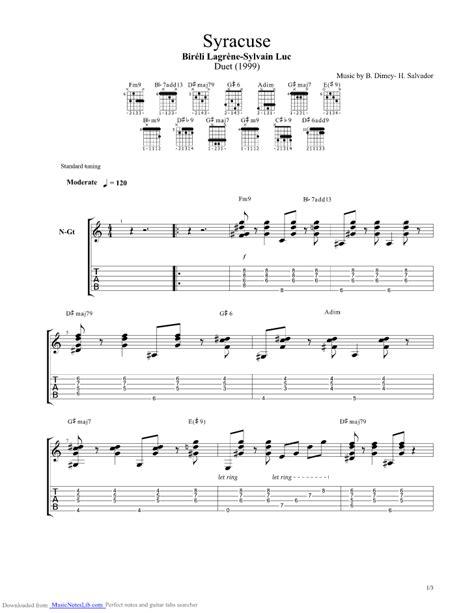 Syracuse Henri Salvador guitar pro tab by Bireli Lagrene ...