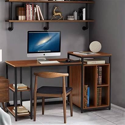 Computer Desk Office Pc Writing Bookshelves Space