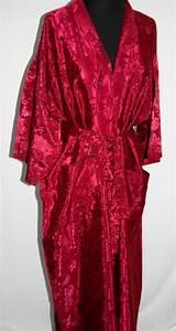 "Red Maroon Silk Kimono Robe 50 "" (or 125 cm) long New | eBay"