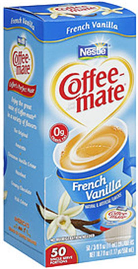 You'd need to walk 4 minutes to burn 15 calories. Coffee-mate Coffee Creamer French Vanilla 50 Single Serve 3/8 Oz Tubs 18.7 Fl Oz Nutrition ...