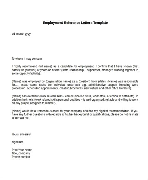 sample job reference letter uk