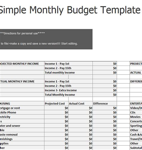easy budget template simple monthly budget sheet 187 template