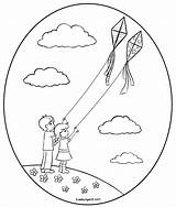Kite Flying Kites Coloring Pages Fly Clip Drawing Children Clipart Boy Colouring Scene Awana Cubbies Getdrawings Getcolorings Printable Colorin Sweetclipart sketch template