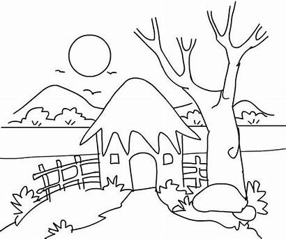 Scenery Coloring Nature Drawing Easy Drawings Bojanke