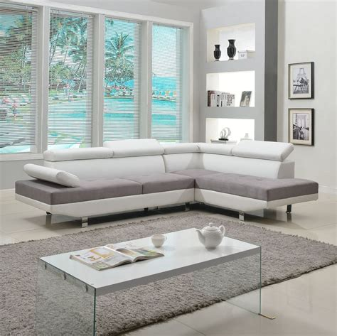 two sofa living room 2 piece modern contemporary white faux leather sectional