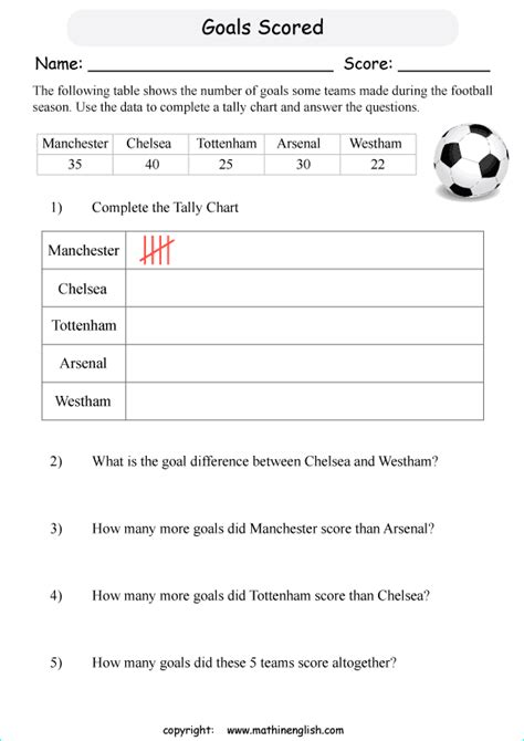 use the data table and complete the tally chart and answer