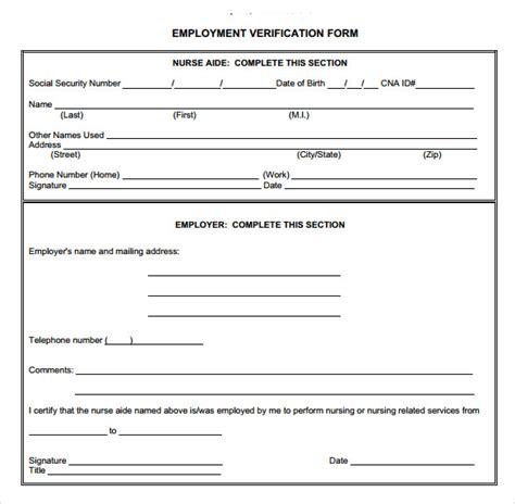 employment verification form template 9 employment verification form for free sle templates