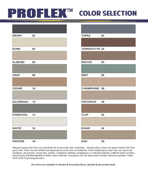 grout colors grout proflex products inc