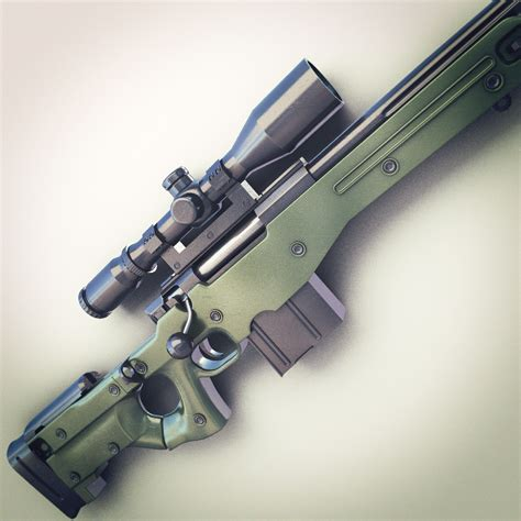 bed set awm sniper rifle hi res 3d model max obj fbx lwo lw