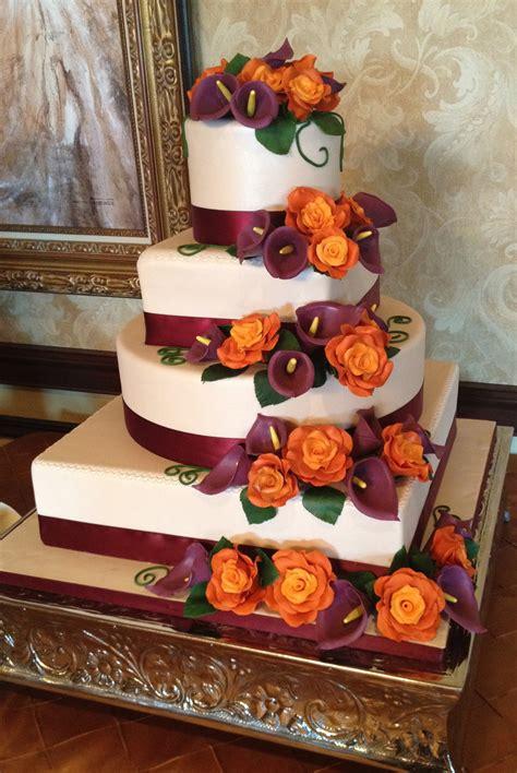 Plum And Burnt Orange Four Tier Fall Wedding