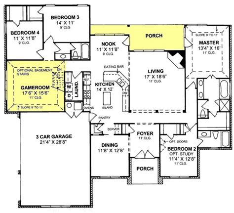 story traditional  bedroom  bath plan   car garage house plans floor plans