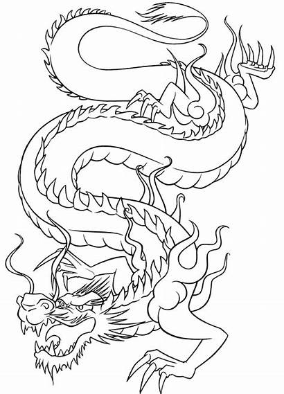 Dragon Japanese Chinese Patterns Stencils Tattoo Drawing