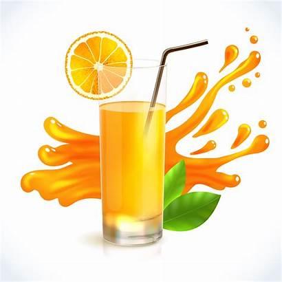 Juice Splash Orange Vector Drink Glass Background