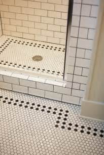 bathroom floor design ideas white bathroom with black and white mosaic tiles flooring feat subway tiles wall