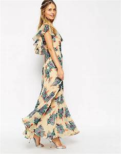 asos asos wedding maxi dress with frill detail in pretty With floral maxi dresses for weddings