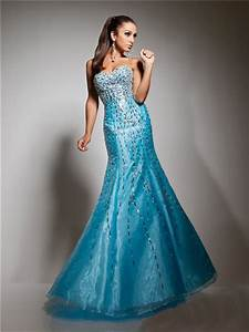 New Mermaid Sweetheart Long Blue Sparkly Evening Prom ...