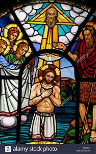 Stained glass window depicting Jesus's baptism, Holy ...