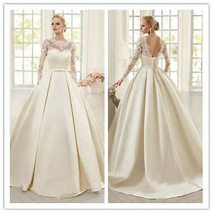 aliexpresscom buy elegant ivory lace wedding dresses With satin lace wedding dress
