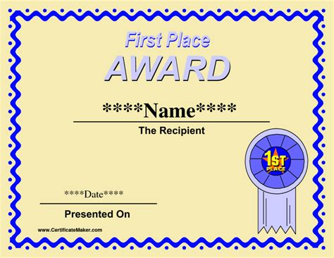 1st Place Certificate Template Free by 1st Place Award Certificate Template With Yellow