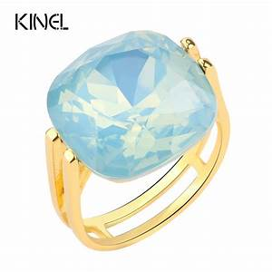 2017 Fashion Square Blue Opal Stone Wedding Rings For ...