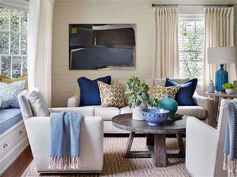Ivory And Blue Living Rooms