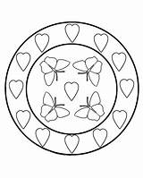 Coloring Circle Butterfly Hearts Creative Butterflies Flowers Entitlementtrap Heart Circles Sheets Visit sketch template