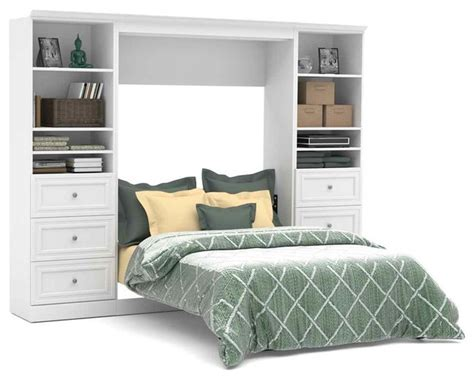Full Wall Bed And Storage Units With 3 Drawers In White