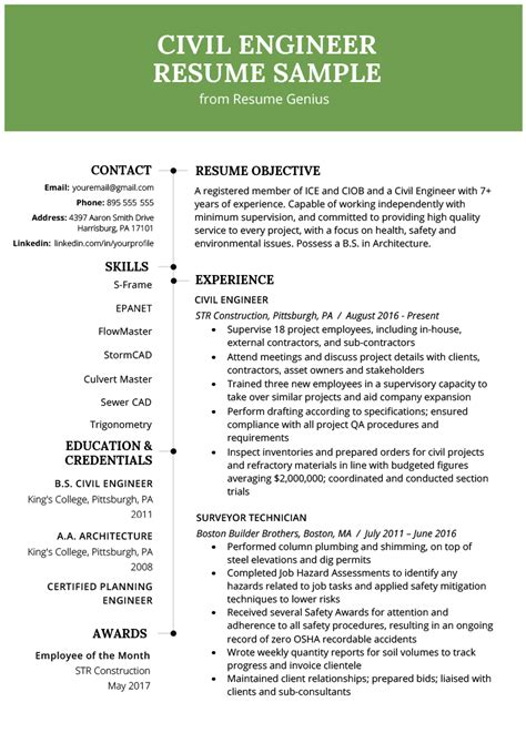 resume format of a civil enginer civil engineering resume exle writing guide resume genius