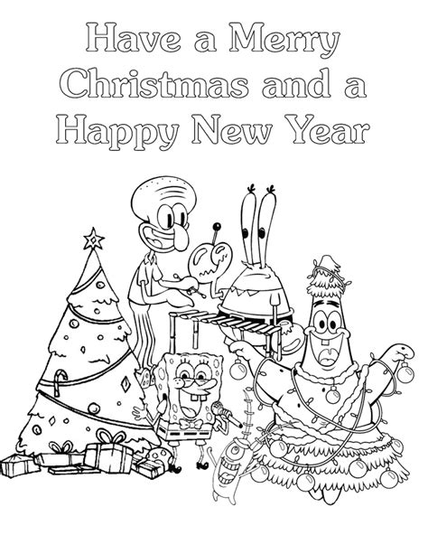 spongebob  friends merry christmas coloring page