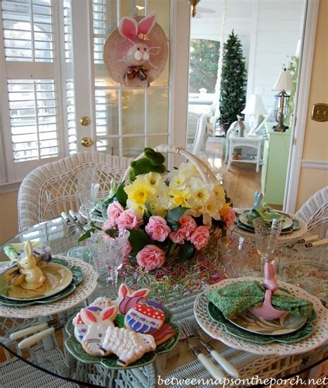 easter tablescape table setting  daffodil camellia