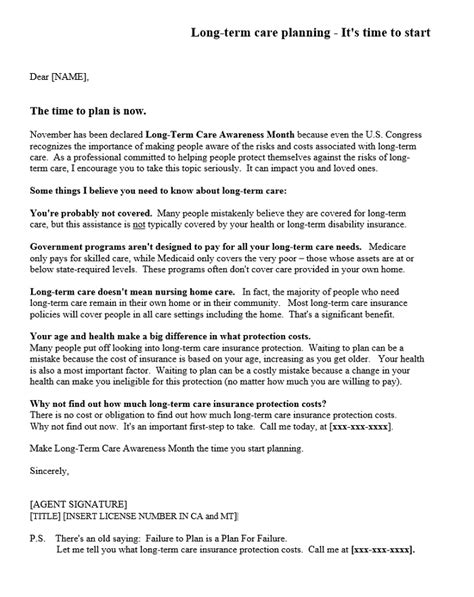 sample long term care letters dataman group direct