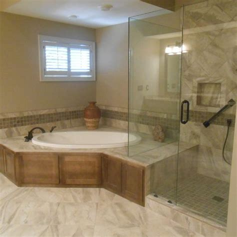 totally renovated  master bathroom installed  drop
