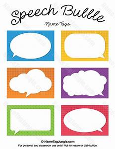 free printable speech bubble name tags the template can With bubble label template