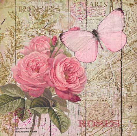cuadro tris rose shabby vintage el de anta 209 o l 225 minas para decoupage entre rosas y mariposas laminas