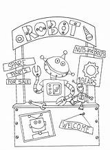 Robot Booth Stamps Digi Freedeariedollsdigistamps Dearie Dolls Coloring sketch template