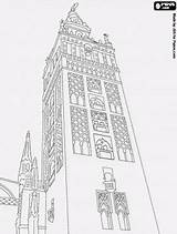 Sevilla Coloring Cathedral Almohad Spain Pages Seville Mosque Minaret Para Colorear Giralda Dessin Eid Monuments Drawing Tower Islam Dibujos Catedral sketch template