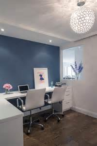 Blue Gray Accent Wall Office