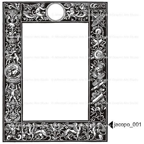 high renaissance european borders vector clip art