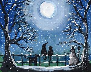 Blue, Cat, Christmas, Painting, By, Follow, Themoonart