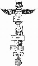 Totem Coloring Native Poles Pole Faces Template Tiki Beaver Printable Library Clipart Popular sketch template