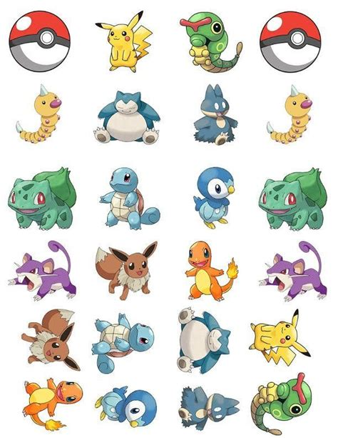 pokemon characters  cupcake toppers  birthday place