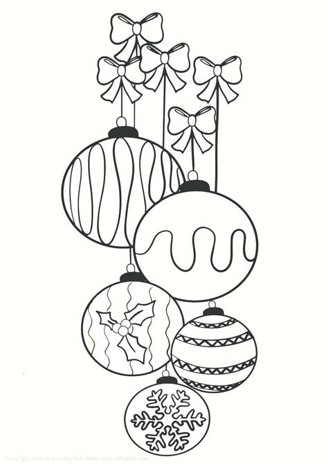 christmas baubles colouring page  arty crafty kids