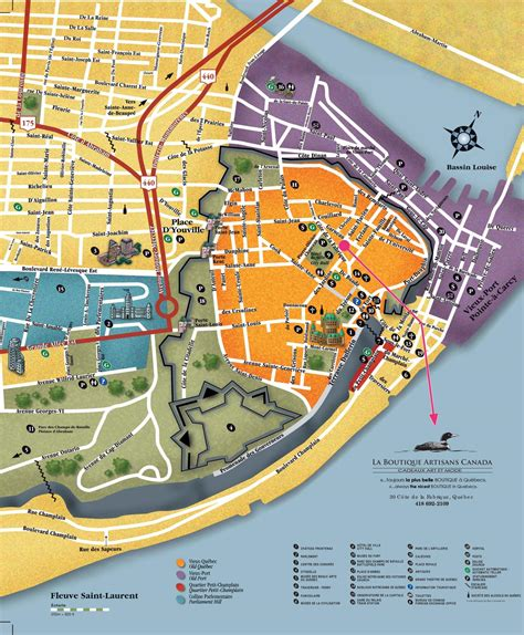 quebec city sightseeing map map  quebec city