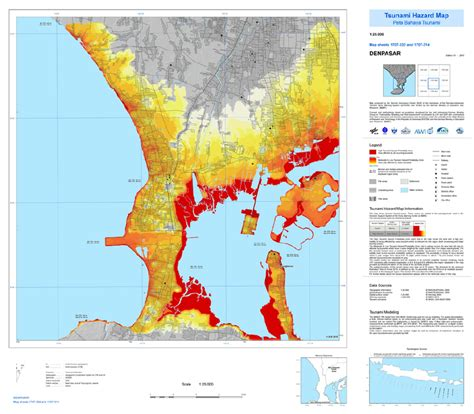 tsunami hazard map  bali  scientific diagram